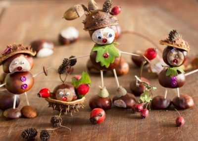 Chestnut figures created by children
